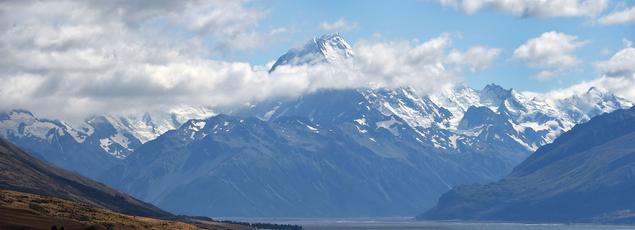 Le mont Cook (Aoraki) en Nouvelle-Zélande.