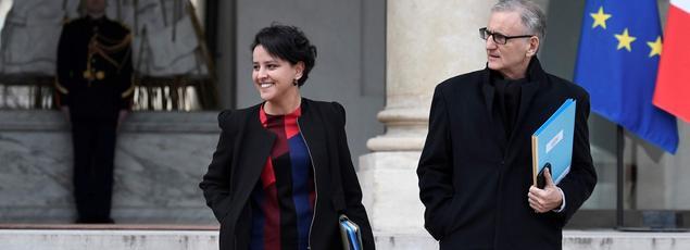 Najat Vallaud-Belkacem et André Vallini, ce 24 février à l'Elysée.