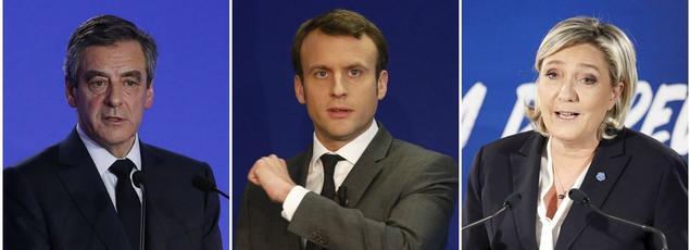 François Fillon, Emmanuel Macron et Marine Le Pen.