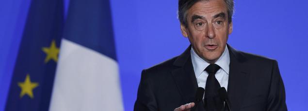 Le candidat LR le mercredi 1er mars lors de sa conférence de presse à son QG de campagne, à Paris.