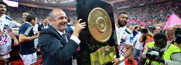 Thomas Savare fête le titre de champion de France avec le Stade Français en 2015.
