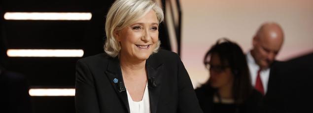 Marine Le Pen lors du débat présidentiel organisé sur TF1.