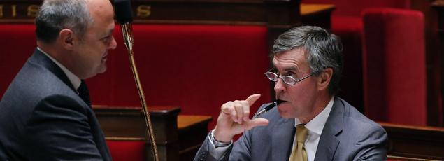 Bruno Le Roux et Jérôme Cahuzac à l'Assemblée nationale, le 16 juillet 2012.