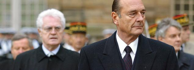 Le président Jacques Chirac et le premier ministre Lionel Jospin, le 5 février 2002 au château de Vincennes.