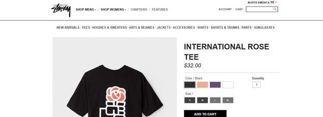 Le t-shirt, tel qu'on peut le trouver sur le site de Stussy.
