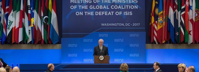 Rex Tillerson au sommet de la coalition internationale réunie, mercredi, à Washington.