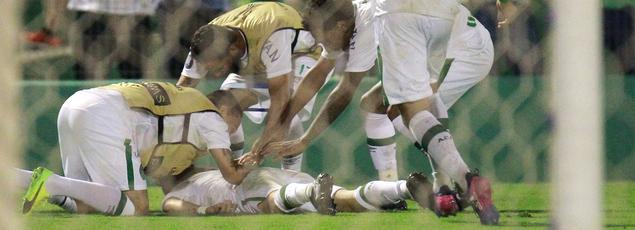 Rossi et les joueurs de Chapecoense célèbrent leur but inscrit face à Lanus le 16 mars dernier.