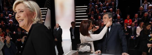 Marine Le Pen et François Fillon, lundi, lors du débat.