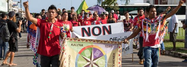 Les peuples autochtones, bushinengués et amérindiens, ont participé aux manifestations, mardi à Cayenne.