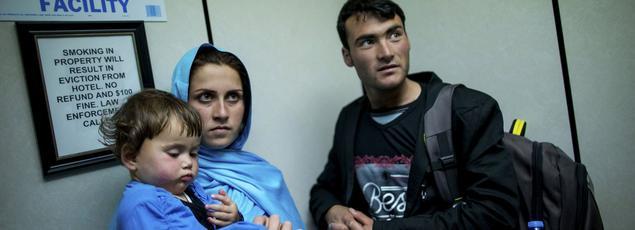 Zakia, Mohammad Ali et leur fille Ruqia lors de leur arrivée à New York, en mai 2016, pour échapper à un «crime d'honneur».