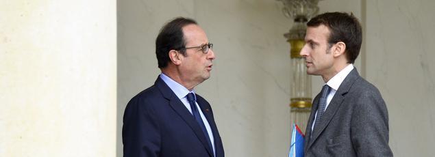 François Hollande et Emmanuel Macron à l'Élysée, le 20 novembre 2014.