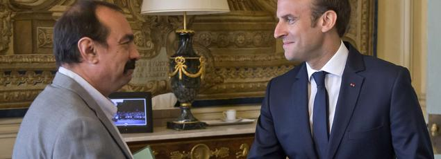 Emmanuel Macron a reçu le patron de la CGT, Philippe Martinez, ce matin.