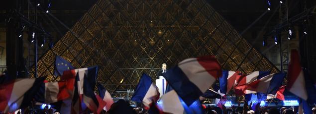 Emmanuel Macron, le soir de sa victoire, au Louvre.