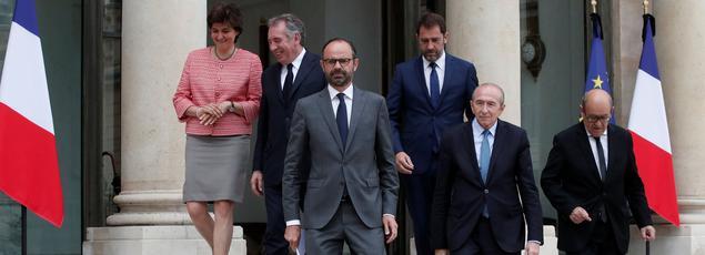 Edouard Philippe et ses ministres après le Conseil des ministres, le 24 mai.
