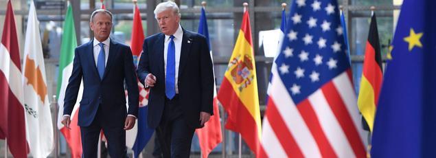 Donald Tusk et Donald Trump ensemble ce jeudi à Bruxelles.