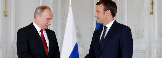 Vladimir Poutine et Emmanuel Macron, lundi 29 mai 2017 à Versailles.