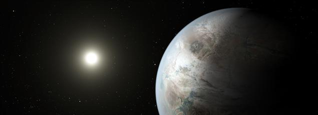 Une vue d'artiste de Kepler-452, exoplanète découverte en 2015 grâce au téléscope spatial Kepler, qui se trouve dans la zone habitable de son étoile. NASA/JPL-Caltech/T. Pyle via AP