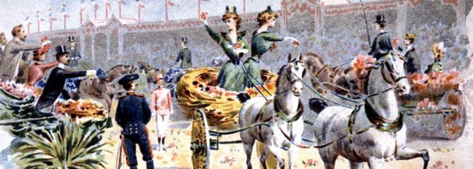 Le carnaval de Nice en 1879 : chars, confettis, bataille de fleurs et jeu des moccoletti