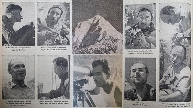 L'équipe de l'expédition Herzog (de gauche à droite et de haut en bas): Gaston Rébuffat, Lionel Terray, Marcel Ichac, Jacques Oudot, Francis de Noyelle, Maurice Herzog et Marcel Schatz coupant les cheveux de Louis Lachenal. En haut au centre l'Annapurna. Photomontage des photos parues dans Le Figaro du 3 août 1950.