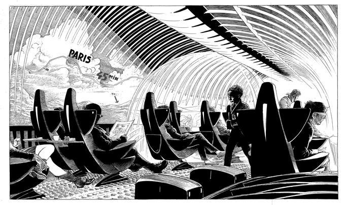 Le train du futur de François Schuiten. Dessin inédit.