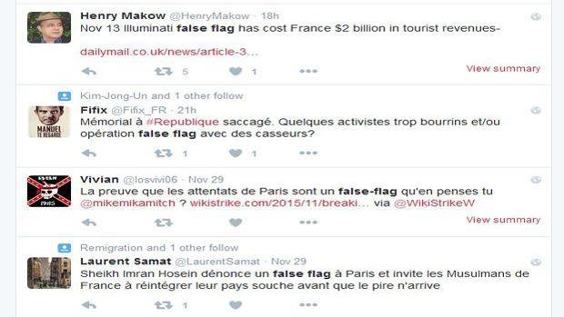 Exemples de théories du «false flag» diffusées sur Twitter.