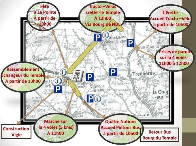 Carte du déroulement général de la manifestation posté par l'Acipa.