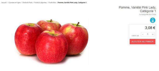 1kg de pomme sur le site de Monoprix