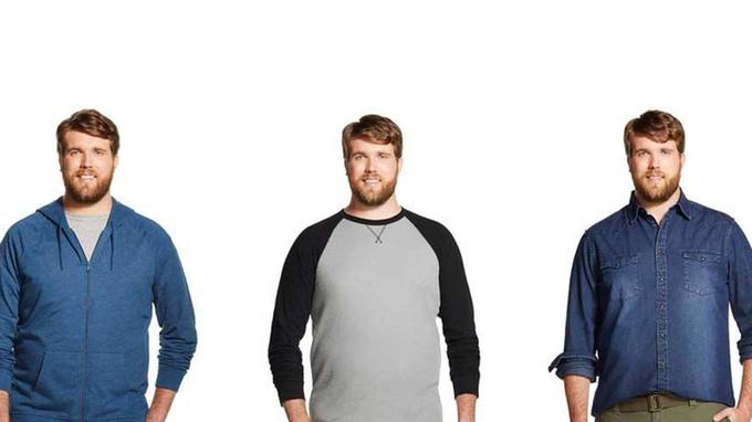 Zach Miko, 2 m et 101 cm de tour de taille, pose pour une campagne de la marque Target (Crédit photo: Target)