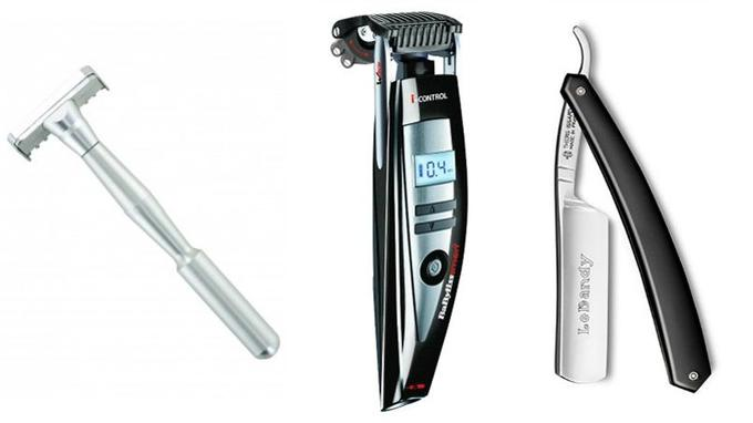 De gauche à droite, tondeuse manuelle avec quatre hauteurs de coupe et une lame de précision, <a href=