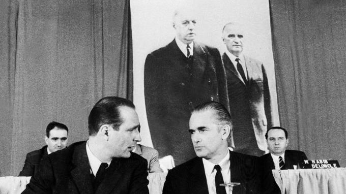 Chirac et Chaban-Delmas en 1971, lors des assises de l'UDF.