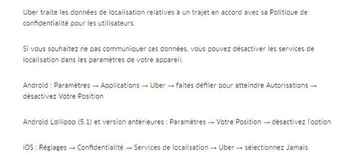 Les instructions d'Uber relatives au partage de données.