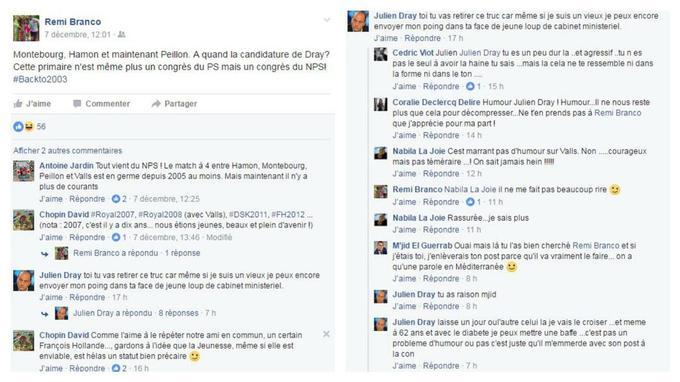 Capture d'écran de l'échange de conversation sur Facebook entre Julien Dray et Rémi Branco