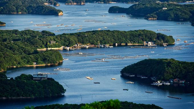 Vue sur les parcs à huîtres de la baie d'Ago depuis le belvédère de Yokoyama.