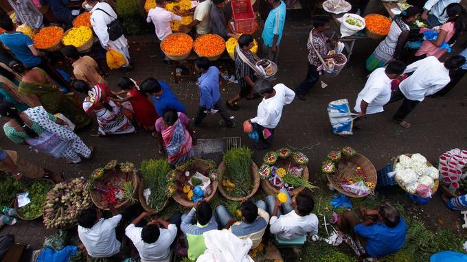 Les couleurs du marché aux fleurs de Mumbai.