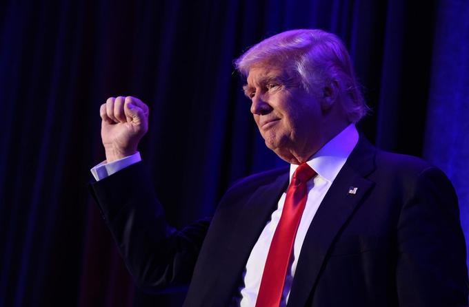 Donald Trump à New York après l'annonce de sa victoire à la présidentielle américaine le 9 novembre 2016.