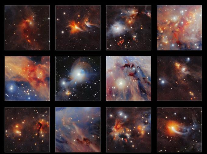 Morceaux choisis par l'ESO, tirés d'une nouvelle image infrarouge du nuage moléculaire Orion A prise par le télescope VISTA. De nombreuses structures curieuses sont clairement visibles, parmi lesquelles les jets rouges provenant de très jeunes étoiles, des nuages sombres de poussière et même de très petites images de galaxies très distantes.