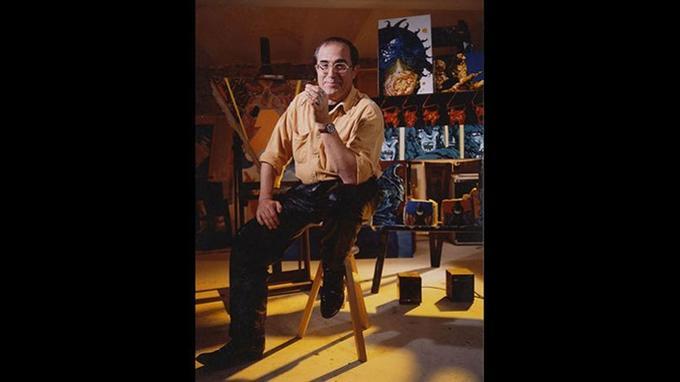 Philippe Druillet dans son atelier en 1992, à Frette-sur-Seine. Crédit: Hervé Bruhat.