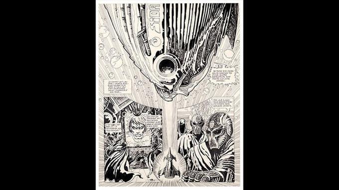 «Délirius», 1972, encre de Chine sur papier, planche5. Crédits: Philippe Druillet/ Mel Puplisher.
