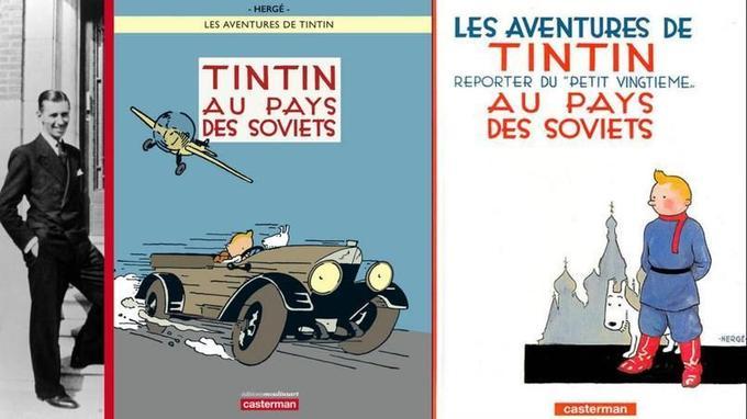 Si la première couverture historique de cet album très critique envers le communisme représentait le personnage de Tintin, vêtu de son uniforme bolchevique, se tenant debout de manière assez statique, la nouvelle version colorisée met l'accent sur la vitesse, le mouvement et la déformation des pneus de son véhicule.