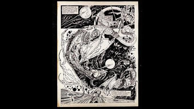 «Les six voyages de Lone Sloane», 1969, encre de Chine sur papier, planche 3 du chapitre «Torquedara Varenkor, le pont sur les étoiles». Crédits: Philippe Druillet/ Mel Puplisher.