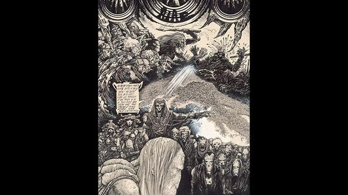 «La Nuit», 1976, encre de Chine sur papier, planche 40. Crédits: Philippe Druillet/ Mel Puplisher.