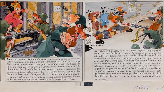 «La bête est morte!», d'Edmond-François Calvo (dessin), Victor Dancette et Jacques Zimmermann (scénaristes), Éditions Gallimard, novembre 1944, collection particulière.