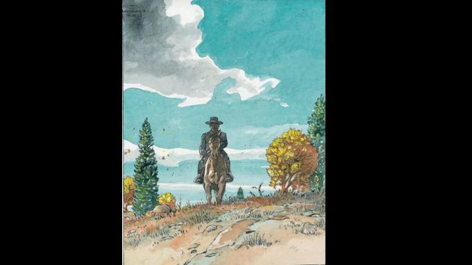 Cette première case de la page 33, tirée de l'album <i>Duke</i>, d'Hermann et Yves H., a été mise en couleur directe par l'auteur.