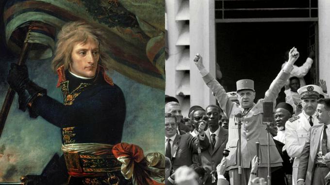 Si l'Histoire les fit, Napoléon (ici au pont d'Arcole) et deGaulle (à droite à Brazzaville, en 1958) firent à leur manière l'Histoire. Non sans heurts, drames et polémiques.