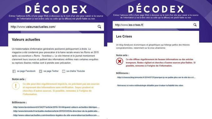Exemple de fiabilité pour le site de «Valeurs actuelles» et le blog «les Crises»