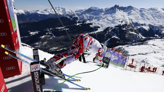 Le skieur autrichien Hannes Reichelt, au départ de la Coupe du Monde, en mars 2015. © Christophe Pallot/Agence Zoom
