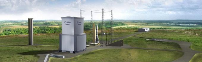 Vue d'artiste du futur pas de tir d'Ariane 6 en Guyane, avec la tour mobile qui protégera le lanceur, et dans le fond, le bâtiment où l'assemblage se fera à l'horizontale.