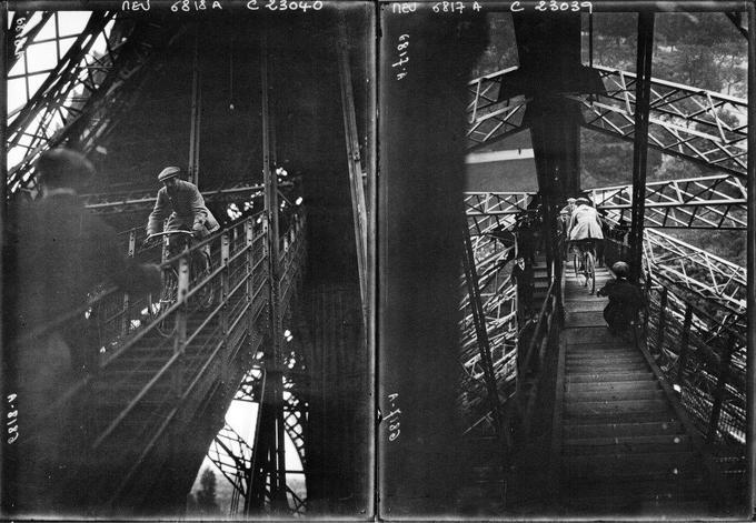 Pierre Labic a descendu les marches de la tour Eiffel à bicyclette.