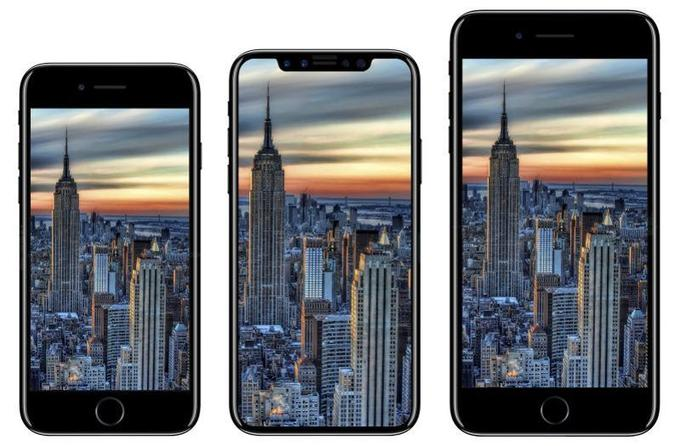 Le probable design de l'iPhone X comparé aux iPhone 8 et 8 Plus. (iDrop News)
