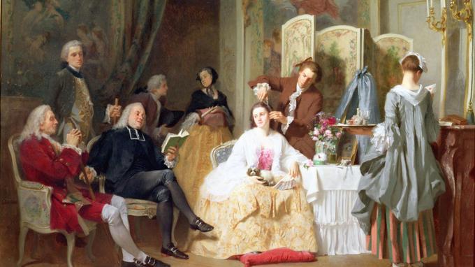 L'abbé Prévost lisant «Manon Lescaut» dans un salon, peinture de Joseph Caraud.(1821-1905)